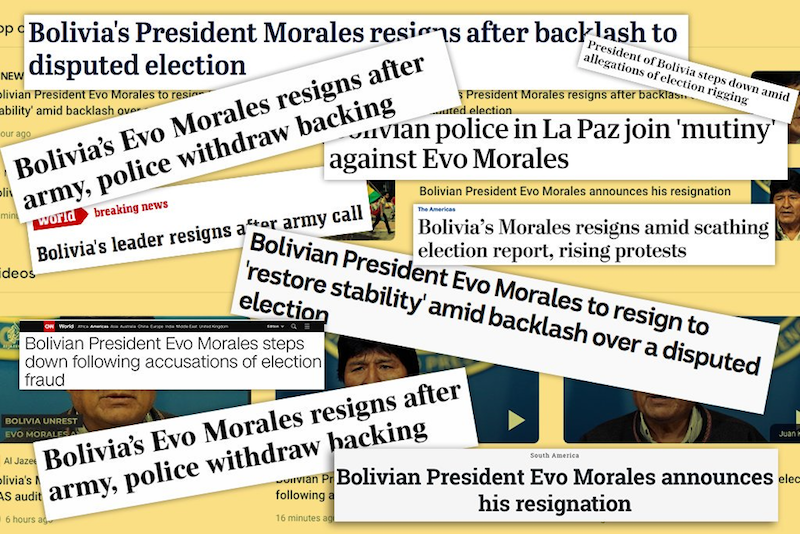 The media has not labelled the Bolivia situation a coup – this is deliberate