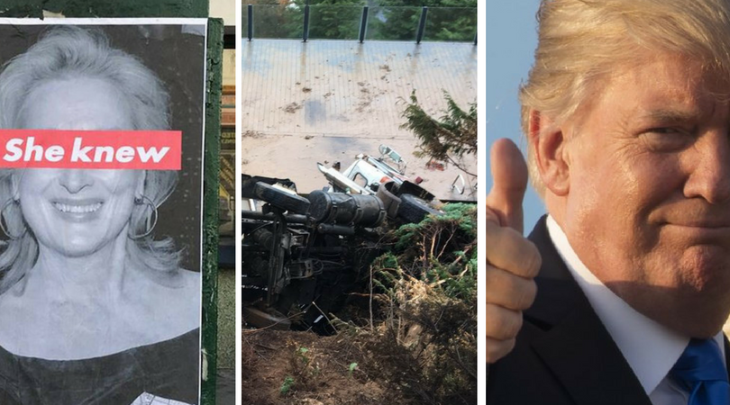 While you were asleep: Street art criticises Streep, Truck goes for a swim, Trump does his job