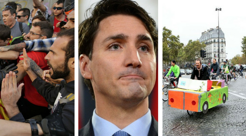 While you were asleep: Catalan referendum turns bloody, Trudeau eloquently castigates extremism, Paris does away with cars
