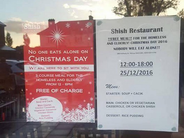 Muslim-owned restaurant's free Christmas feast saves 2016