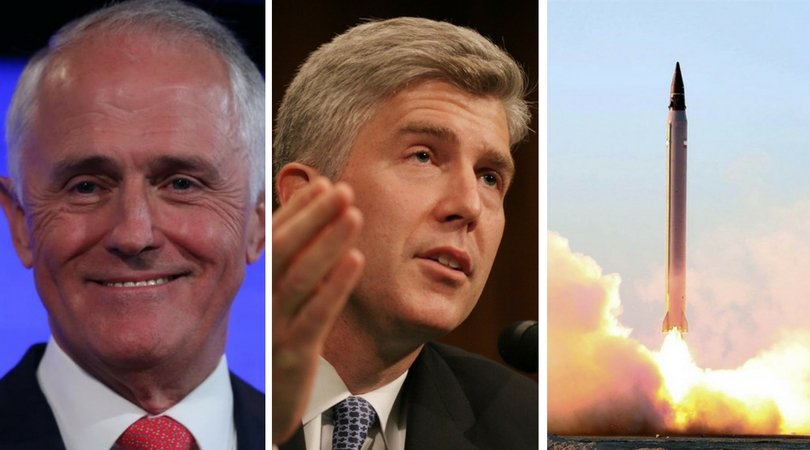 While you were asleep: Turnbull shares donation, Trump names SCOTUS, Iran reveals rocket
