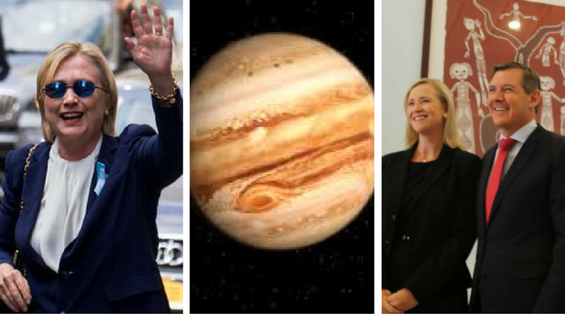 """While you were asleep: Hillary's """"FaintGate"""", Juno's Jupiter snaps, NT's female parliament"""